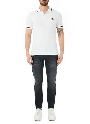 Calvin Klein J30J315566 1By Düşük Bel Pamuklu Slim Fit Jeans Erkek Kot Pantolon Siyah